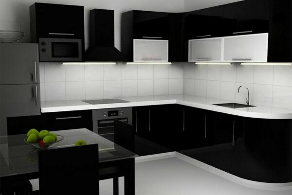 Кухня черная Олимпик